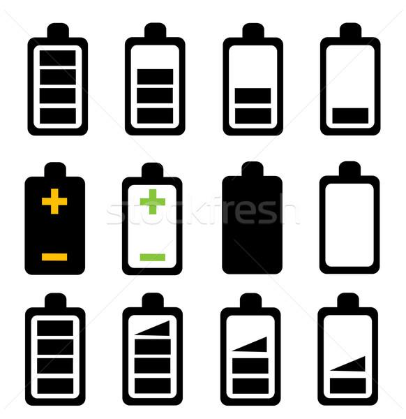Batterie icône signe noir électricité électriques Photo stock © nezezon