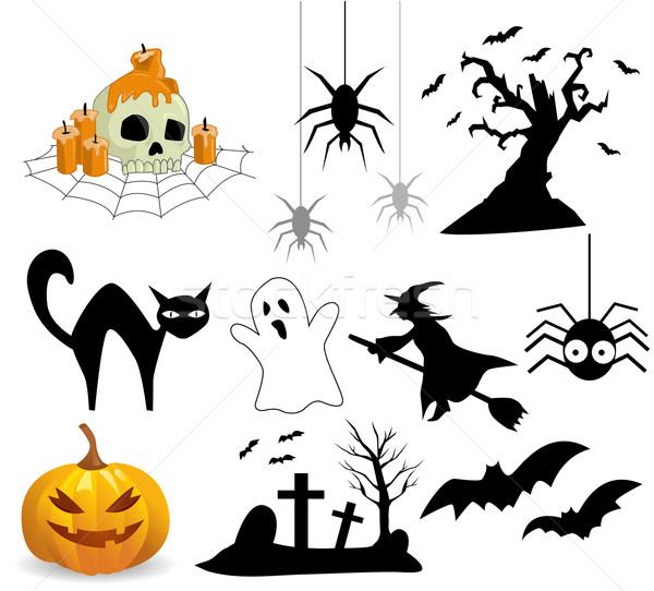 Raccolta halloween icone albero cat cross Foto d'archivio © nezezon