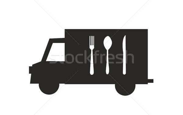 Caminhão de entrega ícone talheres ilustração isolado carro Foto stock © nezezon