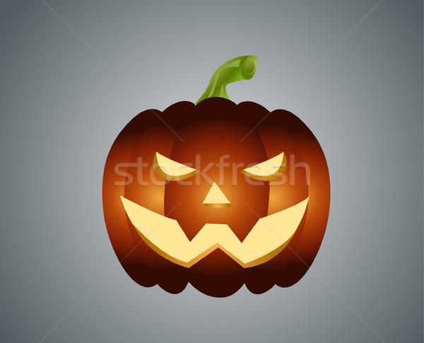 Dynia zło twarz pomarańczowy jesienią ciemne Zdjęcia stock © nezezon