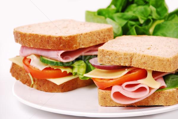 ストックフォト: 健康 · ハム · サンドイッチ · チーズ · トマト · 白
