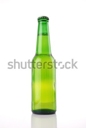 Bierfles groene waterdruppels witte abstract glas Stockfoto © nezezon