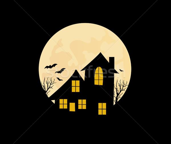 Halloween huis wolken partij achtergrond Stockfoto © nezezon