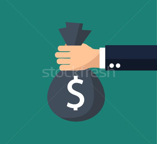 Flat background with, money bag Stock photo © nezezon