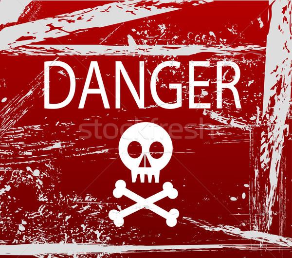 Figyelmeztető jel koponya felirat energia villám erő Stock fotó © nezezon