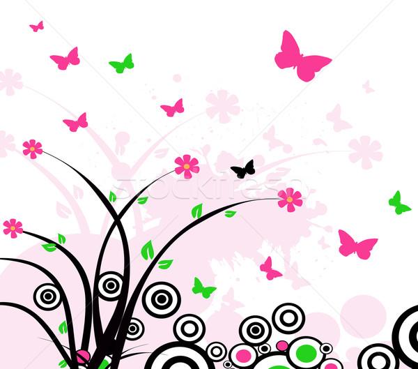 Abstrato flor natureza folha quadro verde Foto stock © nezezon