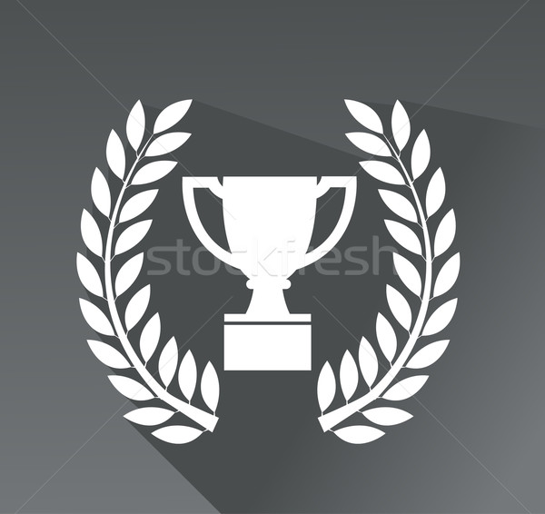 Trophy icon in laurel wreath with shadow Stock photo © nezezon