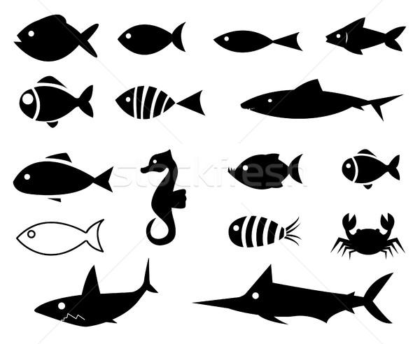 Balık simgeler grup göl siluet yüzme Stok fotoğraf © nezezon