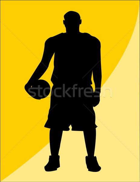 Kosárlabdázó terv fitnessz sportok férfiak sziluett Stock fotó © nezezon