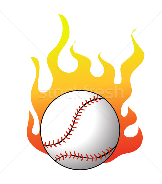 Baseball with flames vector Stock photo © nezezon