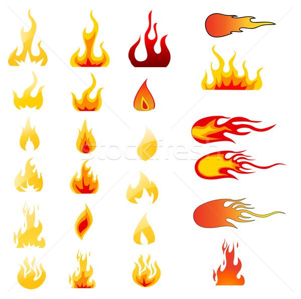 Yangın vektör dizayn turuncu imzalamak Stok fotoğraf © nezezon