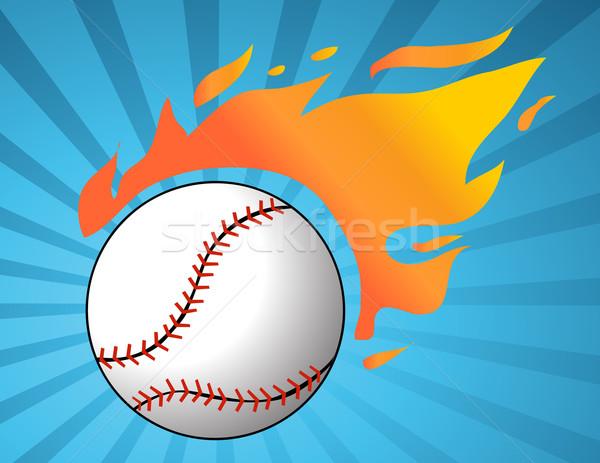 Baseball with flames vector Stock photo © nezezon