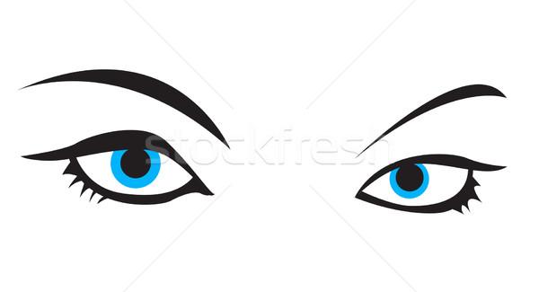 Stockfoto: Blauw · vector · oog · ontwerp · teken · zwarte