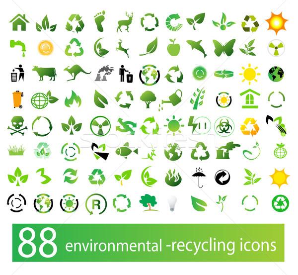 Vector establecer ambiental reciclaje iconos árbol Foto stock © nezezon