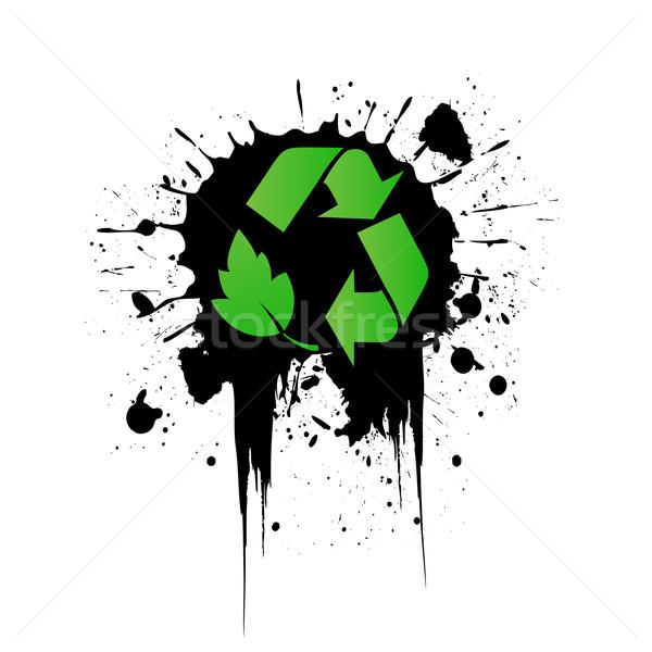Vetor ambiental reciclagem ícone grunge verde Foto stock © nezezon
