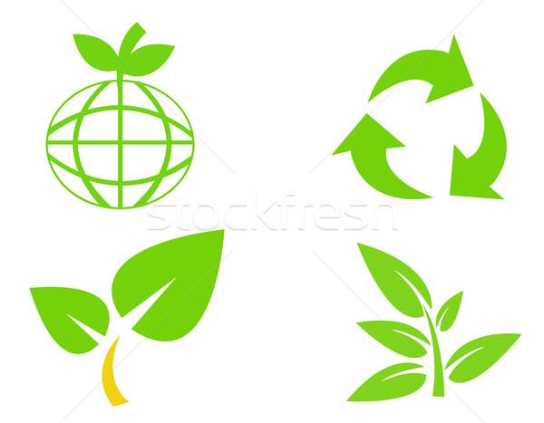 окружающий сохранение мира лист знак Сток-фото © nezezon