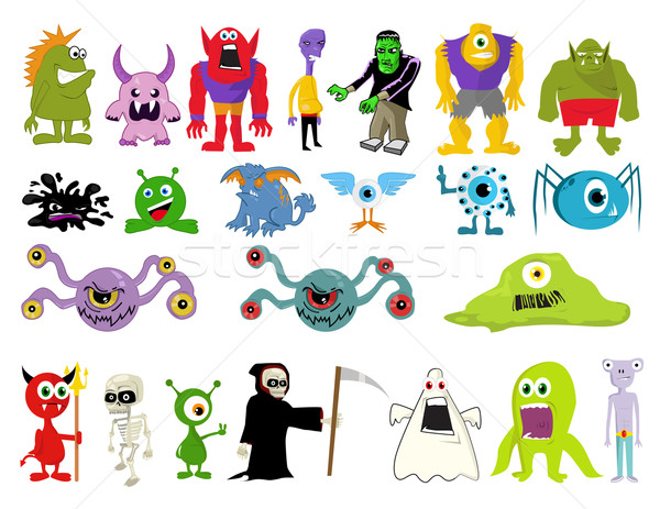 Illustratie monsters groene vet shout spreken Stockfoto © nezezon