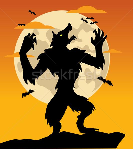 Weerwolf licht maan kunst dier schaduw Stockfoto © nezezon