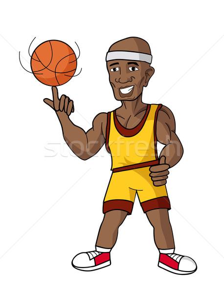 Desenho animado feliz basquetebol laranja preto Foto stock © nezezon