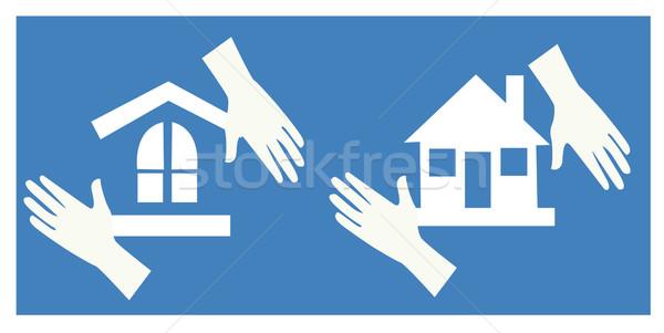 Otthon biztonság ház biztonság közösség tükröződés Stock fotó © nezezon