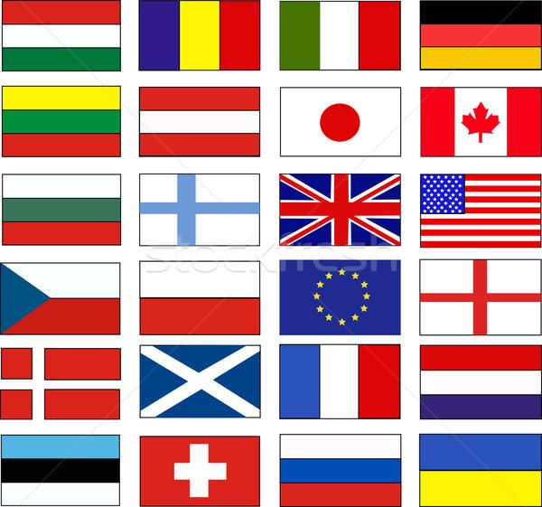 ストックフォト: ベクトル · フラグ · 世界 · フラグ · 国 · 国際