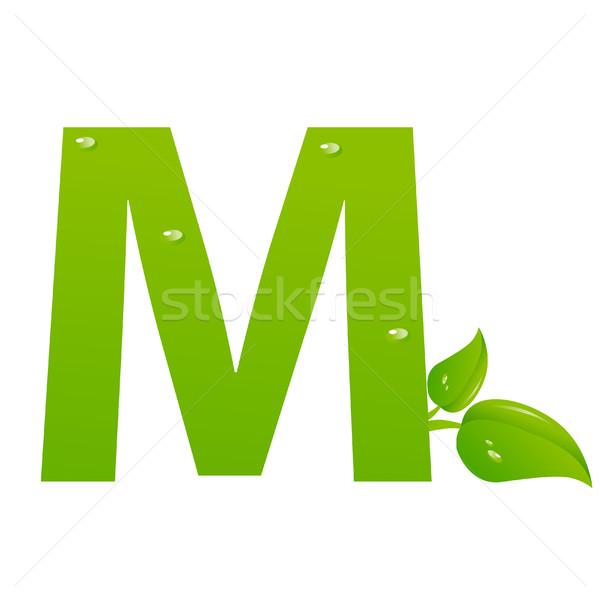 Verde eco lettera m vettore primavera iscritto Foto d'archivio © nezezon