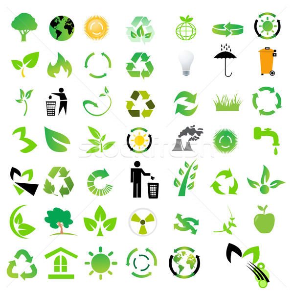 Vector ingesteld milieu recycling iconen boom Stockfoto © nezezon