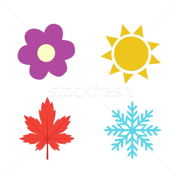 Cztery pory roku ikona symbol liści śniegu sztuki Zdjęcia stock © nezezon