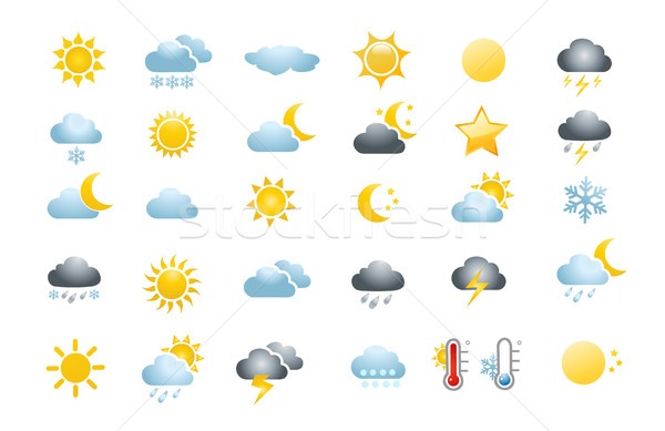30 időjárás ikonok fehér nap terv Stock fotó © nezezon