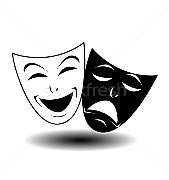 Stockfoto: Theater · icon · gelukkig · triest · maskers · film