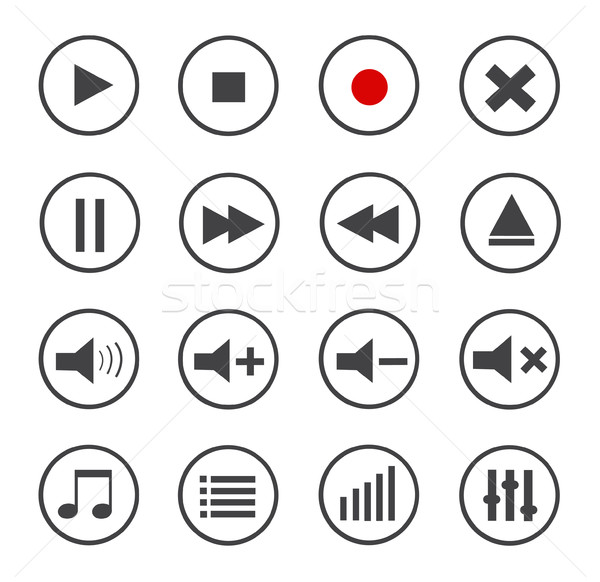 Media Player Vector Icons Set Stock photo © nezezon