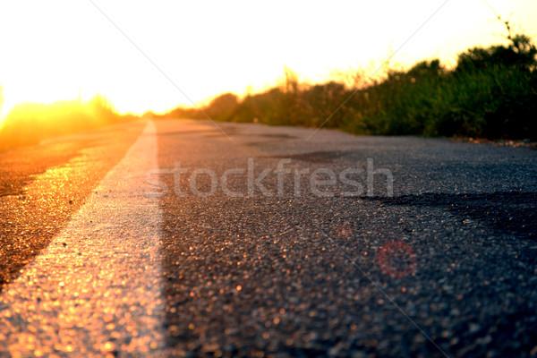 Estrada à frente pôr do sol sol paisagem verão Foto stock © nezezon