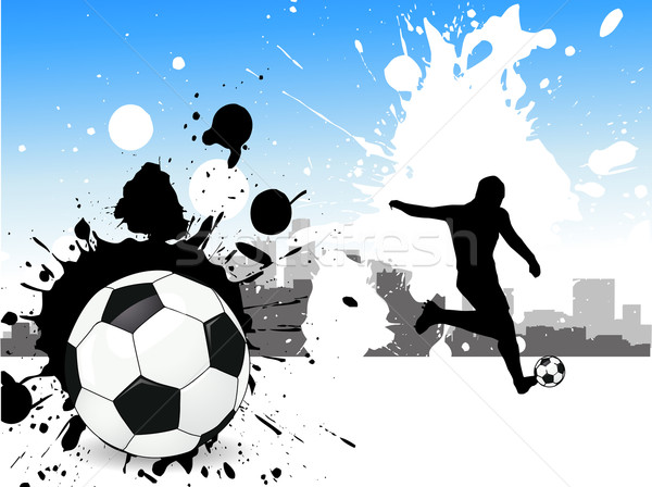 Voetballer voetbal sport leuk team silhouet Stockfoto © nezezon