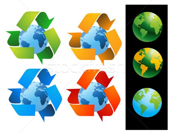 Mondo mondo riciclare segni vettore contatto Foto d'archivio © nezezon