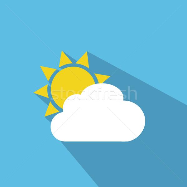 Güneş bulut hava durumu web simgesi gökyüzü ışık Stok fotoğraf © nezezon