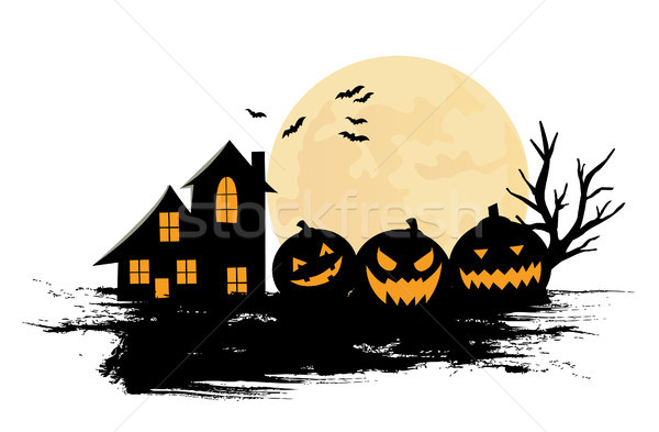 Stock photo: Halloween Party Background with Pumpkins