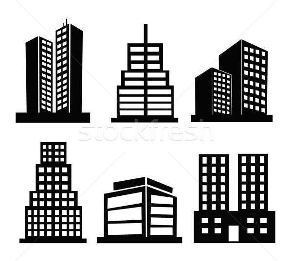 иконки черно белые набор дома город Сток-фото © nezezon