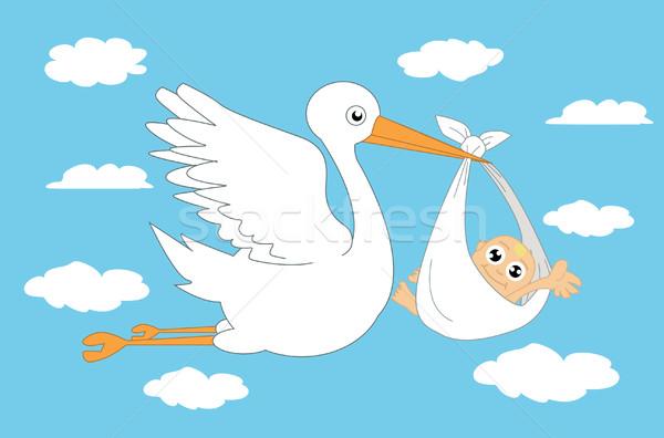 аистов ребенка улыбка фон лет животного Сток-фото © nezezon
