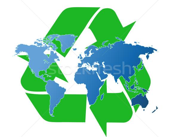 Wereldkaart recycling symbool wereld gezondheid oceaan Stockfoto © nezezon