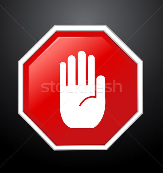 No entry hand sign on black background  Stock photo © nezezon