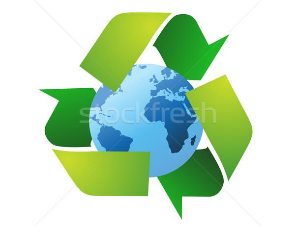 Monde monde recycler signes vecteur contact Photo stock © nezezon