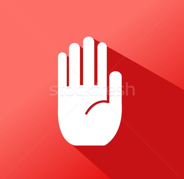 No entry hand sign on white background Stock photo © nezezon