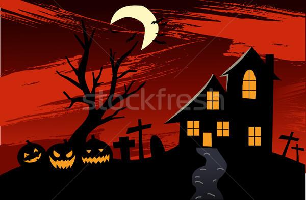 Halloween casa nuvens fundo arte Foto stock © nezezon