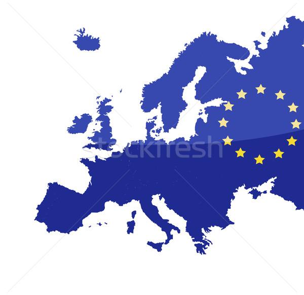 Kaart europese unie vlag Europa land Stockfoto © nezezon