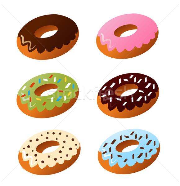 ストックフォト: セット · かわいい · 甘い · カラフル · ドーナツ · 食品
