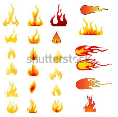 Terv elemek tűz lángok piros égő Stock fotó © nezezon