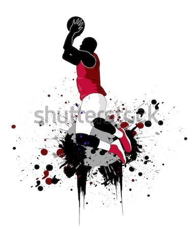 Kosárlabdázó terv kosárlabda fitnessz sportok ugrás Stock fotó © nezezon