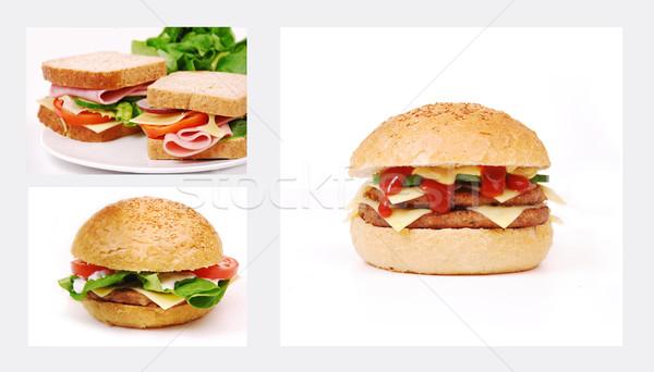 Egészségtelen étel fehér búza hús eszik gyors Stock fotó © nezezon