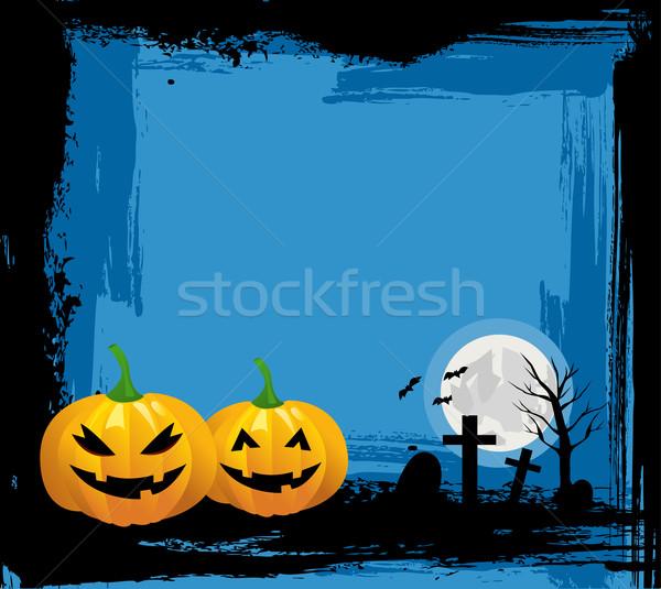 Halloween streszczenie projektu księżyc noc jesienią Zdjęcia stock © nezezon