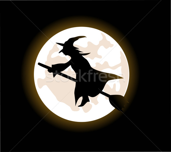 A cartoon witch flying on a broomstick Stock photo © nezezon